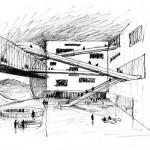 رسم كروكي  للبناء يوضح البناء داخليا